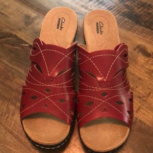 Size 12 red leather Clark's
